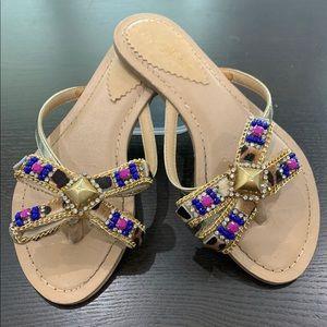 TOP QUALITY beaded flip flop sandals.